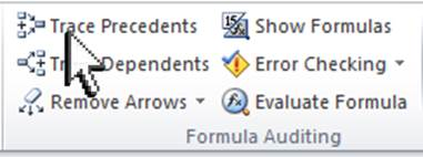 Trace Precedents Formula Auditing in Excel
