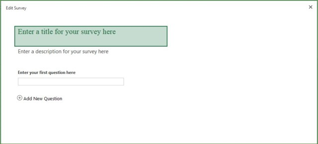 Enter a title for the Excel Survey