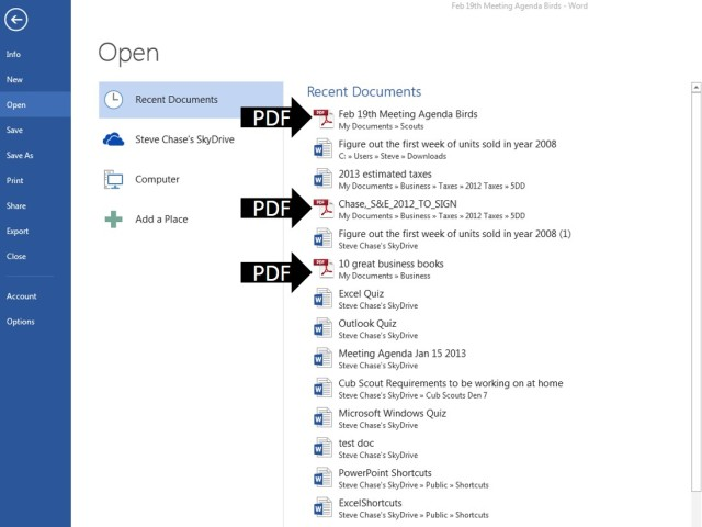 Open and Edit a PDF in Word 2013