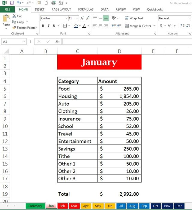Formula Link Multiple Worksheets to within an Excel Summary Workbook ...