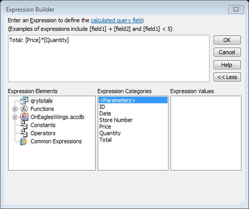 Expression Builder access query